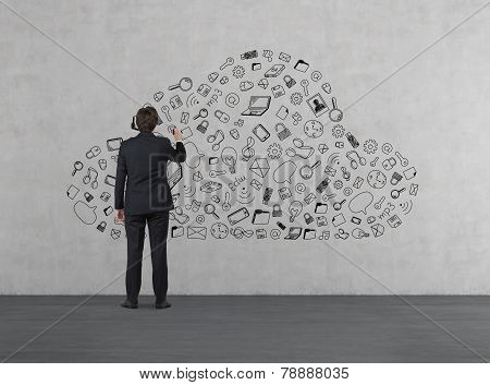 Businessman Drawing Business Symbol