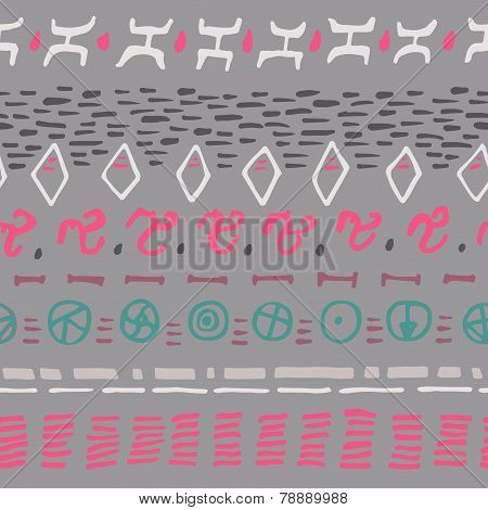 Abstract Horizontal Seamless Pattern. Background With Hand Drawn Shapes. Gray Backdrop.