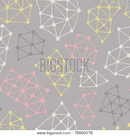 Abstract Geometric Pattern. Vector Seamless Background From Triangles And Dots.