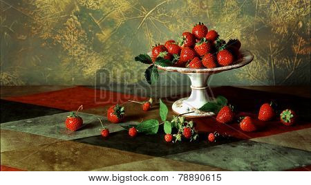 Still Life With Fresh Ripe Red Berries And Ceramic Pedestal Plate For Fruit