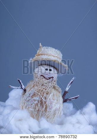 Christmas toy made of straw - snowman.