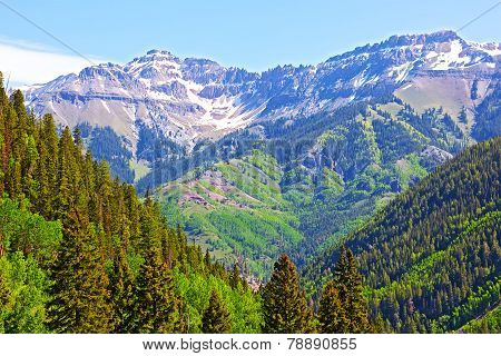 Mountains and forests surrounding Telluride Colorado.