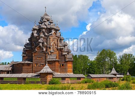 Russian Wooden Church Of The Intercession. Petersburg