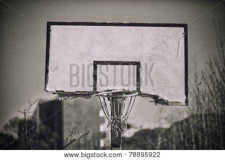 A broken basketball backboard