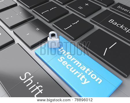 closed Padlock and Information Security on computer keyboard. Pr
