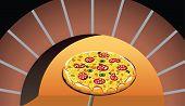 Постер, плакат: Итальянская пицца в духовке