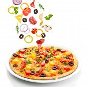 image of hot fresh pizza  - Tasty pizza and falling ingredients isolated on white - JPG