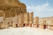 stock photo of masada  - Recently restored these frescoes once adorned the lower terrace of King Herod northern palace on Masada - JPG