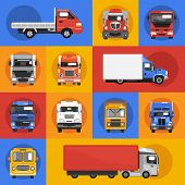 stock photo of car carrier  - Truck heavy carrier transport delivery van decorative icons flat isolated vector illustration - JPG