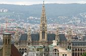 picture of overpopulation  - Aerial view of the city of vienna with Rathaus in austria - JPG