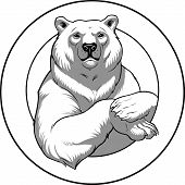 stock photo of polar bears  - Vector illustration of a polar White bear - JPG
