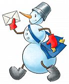 foto of postman  - Funny smiley snowman with letter and postman bag - JPG