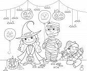 picture of mummy  - Three children with Halloween masks - JPG