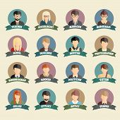 Постер, плакат: Set of colorful profession people flat style icons in circles
