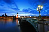 picture of london night  - Big Ben and London at night with the lights of the cars passing by after rain the most prominent symbols of both London and England - JPG