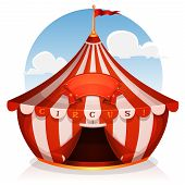 image of marquee  - Illustration of cartoon white and red big top circus tent background with marquee or banner on a blue sky background - JPG