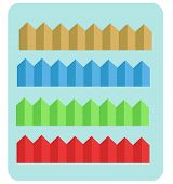 stock photo of row houses  - illustration with rows of houses in different colors - JPG