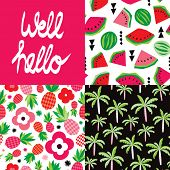 picture of melon  - Well hello hand lettering and tropical hot summer palm tree pineapple and water melon seamless background pattern set in vector - JPG