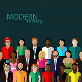 stock photo of population  - vector flat  illustration of society members with a large group of men and women - JPG