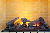 image of retarded  - closeup electric fireplace - JPG