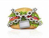 picture of food chain  - Hamburger constrained with chain - JPG