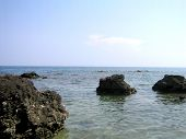 stock photo of batangas  - Huge rocks overlooking the sea - JPG