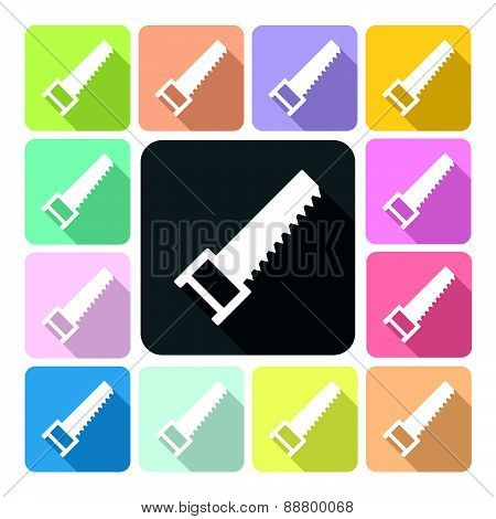Saw Icon Color Set Vector Illustration