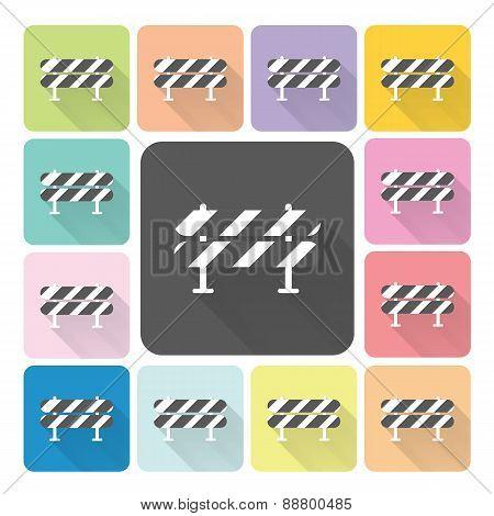 Road Barrier Icon Color Set Vector Illustration