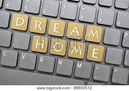 Golden dream home key on keyboard