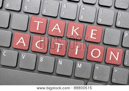 Red take action key on keyboard