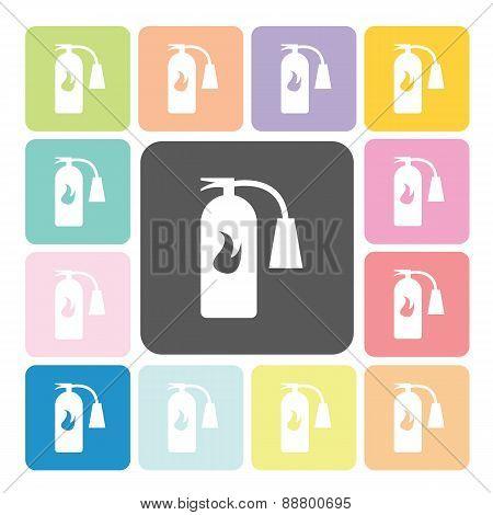 Fire Extinguisher Icon Color Set Vector Illustration