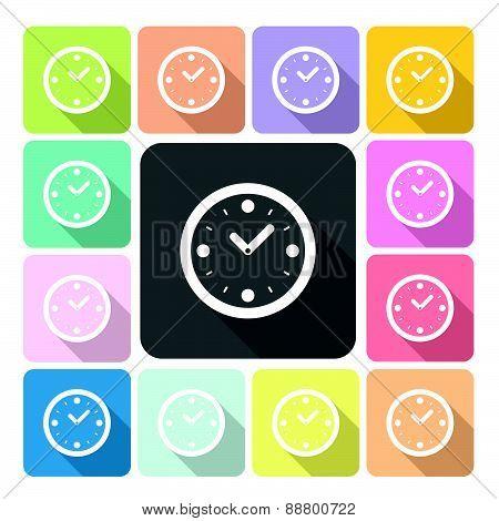 Clock Icon Color Set Vector Illustration