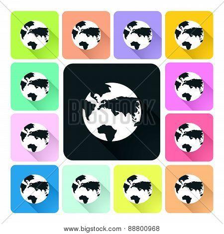 Globe Icon Color Set Vector Illustration