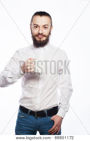 young man drinking a cup of coffee or tea isolated white background