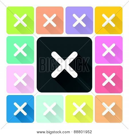 Cross Icon Color Set Vector Illustration