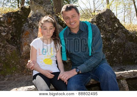 A 10 Years Old Girl Enjoying A Moment Of Fun With Her Dad