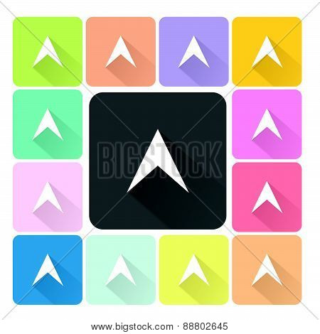 Arrow Icon Color Set Vector Illustration
