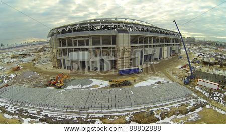 Cityscape from the construction site of a football stadium, aerial view