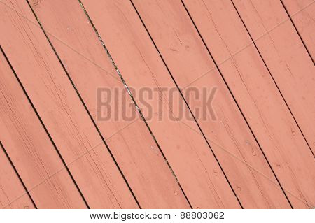 Old Pink Rose Colored Diagonal Wooden Surface