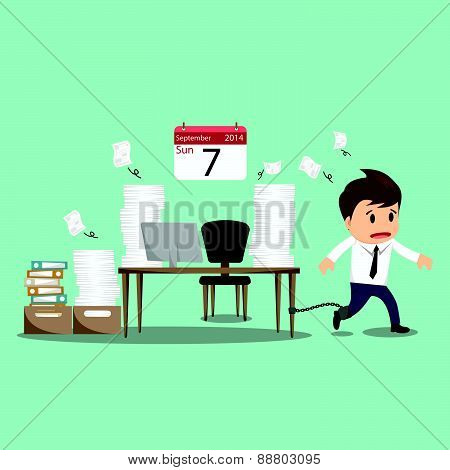 Businessman Chained To The Office Desk On Sunday Vector Illustration