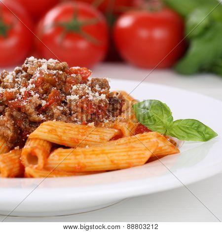 Italian Cuisine Penne Rigatoni Bolognese Sauce Noodles Pasta Meal