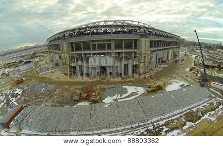 Construction site of a new football stadium, aerial view