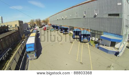 Area for shipment of products from a warehouse in the factory, aerial view