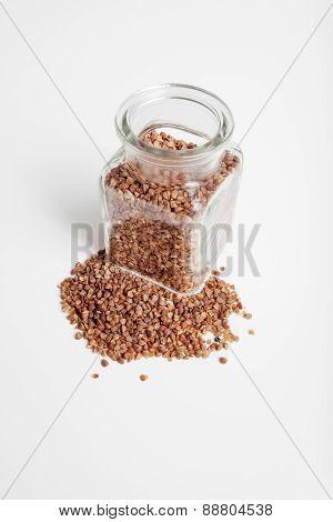 Buckwheat groats in a jar.