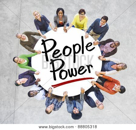 Group of People Holding Hands Around People Power