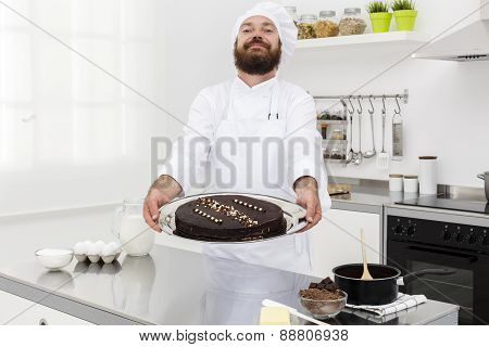 Chef With Chocolate Cake