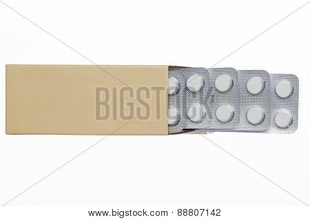 Grey box with white pills blister pack