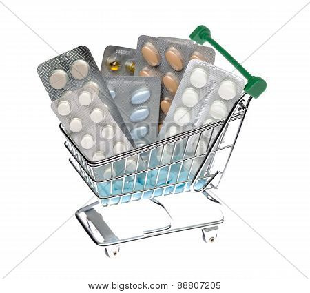 Shopping cart with different pills blister pack