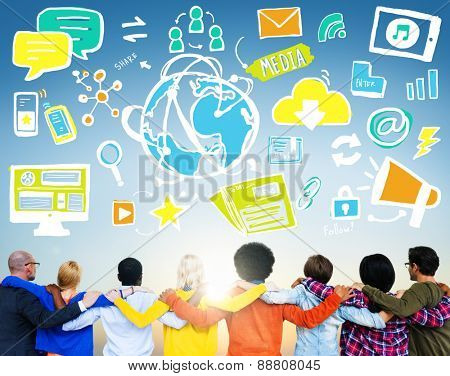 Diversity Casual People Media Technology Teamwork Friendship Concept