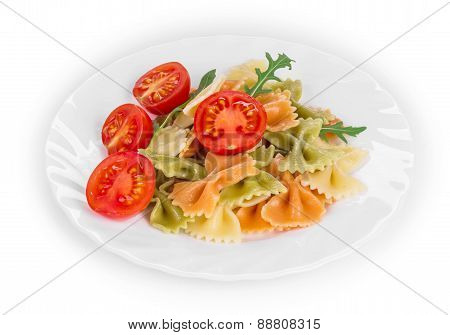 Pasta farfalle with tomatoes.